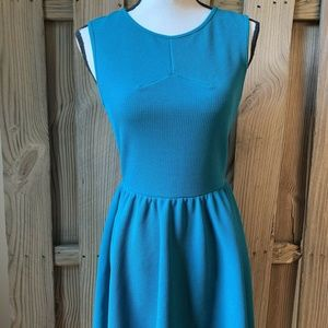 Lush Nordstrom Teal Blue Skater Dress Pleated M